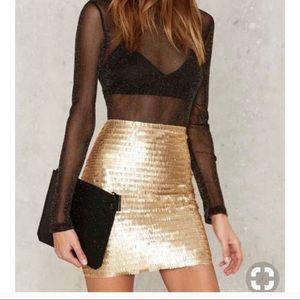 H&M Gold Sequin Mini Skirt • Size 6